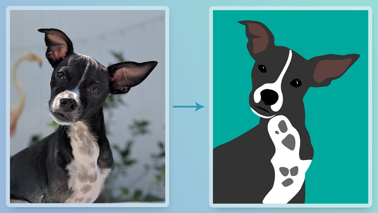 Brody the dog illustration compared to the original image.