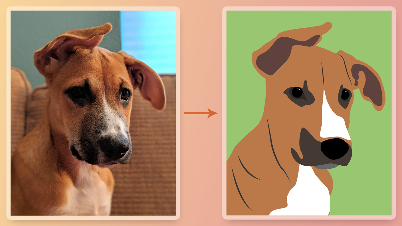 Penelope the dog illustration compared to the original image.