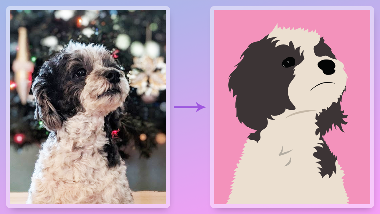 Scarlett the dog illustration compared to the original image.
